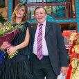 Richard Lugner et Elisabetta Canalis lors d'une conférence de presse pour le Bal de l'Opéra de Vienne 2015 à Vienne le 11 février 2015