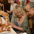 Exclusif - Prix Spécial - Mylène Demongeot et le percussionniste Mino Cinelu - Mylène Demongeot a fêté son 79ème anniversaire, entourée de ses amis les plus intimes, à son domicile à Chatelain et au château du Chêne Vert à Château-Gontier en Mayenne. Les 27 et 28 septembre 2014