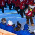 Le roi Carl XVI Gustaf de Suède, la reine Silvia de Suède, la princesse Victoria de Suède, le prince Carl Philip de Suède et sa fiancée Sofia Hellqvist  lors de la cérémonie d'ouverture des championnats du monde de ski nordique, le 18 février 2015 à Falun, dans le centre du pays.