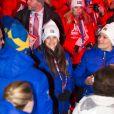 Sofia Hellqvist et la princesse Victoria de Suède  lors de la cérémonie d'ouverture des championnats du monde de ski nordique, le 18 février 2015 à Falun, dans le centre du pays.