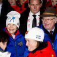 Le roi Carl XVI Gustaf de Suède et la reine Silvia  lors de la cérémonie d'ouverture des championnats du monde de ski nordique, le 18 février 2015 à Falun, dans le centre du pays.