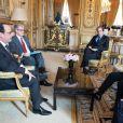 François Hollande recevait l'acteur Sean Penn, fondateur de la J/P Haitian Relief Organisation, à l'Elysée, Paris, le 19 février 2015.