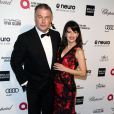 "Alec Baldwin et sa femme Hilaria Thomas, enceinte - Soirée ""Elton John AIDS Foundation Oscar Party"" 2015 à West Hollywood, le 22 février 2015."