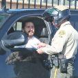 Exclusif - Shia LaBeouf se fait interpeller par un shérif alors qu'il venait de remonter à bord de sa voiture après avoir fait du shopping chez Giorgio Armani, à Beverly Hills le 3 février 2015.