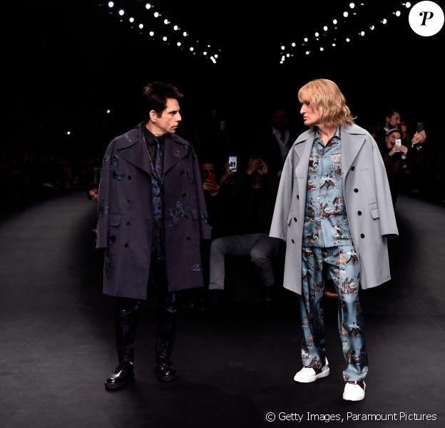 Ben Stiller et Owen Wilson, les Derek et Hansel de Zoolander, ont défilé pour Valentino afin de promouvoir Zoolander 2 dont le tournage vient de débuter. Paris, le 10 mars 2015.