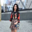 Le top model Tao Okamoto arrive à la Fondation Louis Vuitton pour assister au défilé Louis Vuitton automne-hiver 2015-2016. Paris, le 11 mars 2015.