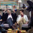 Exclusif - Mylene Demongeot, Francois Vincentelli et Aurelien Wiik sur le tournage du téléfilm  Des roses en hiver , diffusé sur France 2, le 16 décembre 2013.