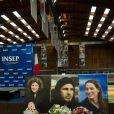 Hommage à Florence Arthaud, Camille Muffat et Alexis Vastine à l'INSEP à Paris, le 11 mars 2015.