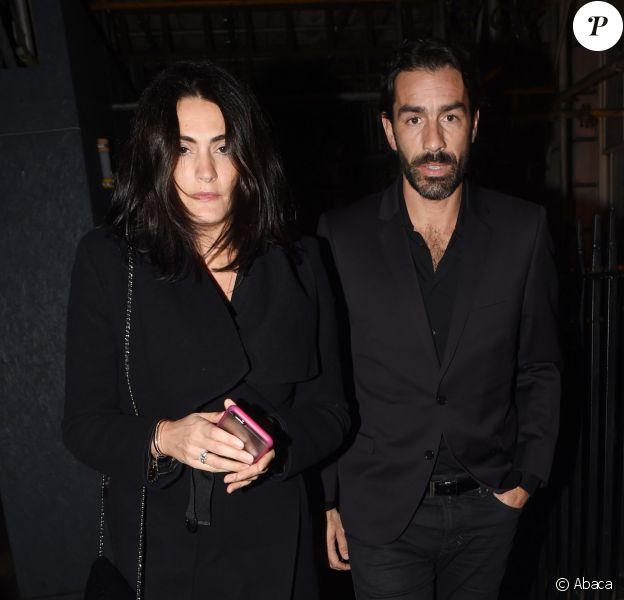 Robert Pirès et son épouse Jessica Lemarie ont assisté à l'after-party d'inauguration de la boutique Balmain, à l'Annabel's. Londres, le 17 mars 2015.