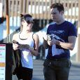 Exclusif - Lea Michele va déjeuner avec son meilleur ami Jonathan Groff à Hollywood, le 13 février 2015.
