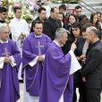 Guy et Laurence Muffat, leurs enfants Chloé et Quentin, William Forgues, le compagnon de Camille, les membres de la famille, lors des obsèques de Camille Muffat en l'église Saint Jean-Baptiste-Le Voeu à Nice, le 25 mars 2015