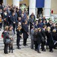 Alain Bernard, Laure Manaudou, Coralie Balmy, Fabrice Pellerin, le président de l'OGC Nice Jean Pierre Rivère et le footballeur de Nice Alexy Bosetti lors des obsèques de Camille Muffat en l'église Saint Jean-Baptiste-Le Voeu à Nice, le 25 mars 2015