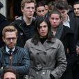 Alexandre Delpérier, Valérie Nicalas, Charlotte Bonnet, Alexy Bosetti lors des obsèques de Camille Muffat en l'église Saint Jean-Baptiste-Le Vœu à Nice, le 25 mars 2015
