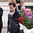 Fabrice Pellerin lors des obsèques de Camille Muffat en l'église Saint Jean-Baptiste-Le Vœu à Nice, le 25 mars 2015