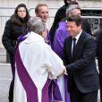 Christian Estrosi, le maire de Nice et Adolphe Colrat, le préfet des Alpes Maritimes lors des obsèques de Camille Muffat en l'église Saint Jean-Baptiste-Le Vœu à Nice, le 25 mars 2015