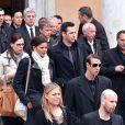 Coralie Balmy, Alain Bernard lors des obsèques de Camille Muffat en l'église Saint Jean-Baptiste-Le Vœu à Nice, le 25 mars 2015