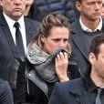 Laure Manaudou lors des obsèques de Camille Muffat en l'église Saint Jean-Baptiste-Le Vœu à Nice, le 25 mars 2015