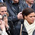 Coralie Balmy, Laure Manaudou lors des obsèques de Camille Muffat en l'église Saint Jean-Baptiste-Le Vœu à Nice, le 25 mars 2015