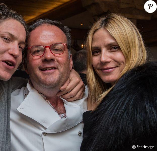 """Exclusif - Heidi Klum, sans maquillage, est allée déjeuner avec son compagnon Vito Schnabe au restaurant """"Dal Mulin"""" à St Moritz en Suisse, le 26 mars 2015"""