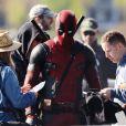 """Ryan Reynolds sur le tournage du film """"Deadpool"""" à Vancouver, le 9 avril 2015."""