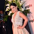 L'actrice Mena Suvari arrive à la soirée d'ouverture du MIPTV à l'hôtel Majestic à Cannes le 13 avril 2015 dans le cadre du MIPTV 2015 qui se déroule au Palais des Festivals du 13 au 16 avril.