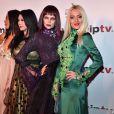 """Les actrices de la serie """"Suckers"""", de gauche à droite, Uthe Bacher, Violetta Smikalina, Xena Zupanic et Amira Bergmann arrivent à la soirée d'ouverture du MIPTV à l'hôtel Majestic à Cannes le 13 avril 2015 dans le cadre du MIPTV 2015 qui se déroule au Palais des Festivals du 13 au 16 avril."""