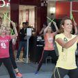 Laure Manaudou (ambassadrice de Reebok) participe à l'évènement  Unexpected Fitness  au centre commercial So Ouest, à Levallois-Perret près de Paris, le 23 avril 2015.