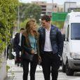 Michael Bublé, sa femme Luisana Lopilato et leur fils Noah se promènent dans les rues de Madrid. Le28 avril 2015