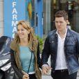 Le chanteur Michael Bublé, sa femme Luisana Lopilato et leur fils Noah se promènent dans les rues de Madrid. Le28 avril 2015