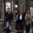 Exclusif - Michael Buble se promène dans les rue de Madrid avec sa femme Luisana Lopilato et son fils Noah, le 27 april 2015