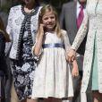 L'infante Sofia d'Espagne le 20 mai 2015 à la paroisse Notre-Dame d'Aravaca, dans la banlieue ouest de Madrid, lors de la première communion de sa soeur Leonor, princesse des Asturies.