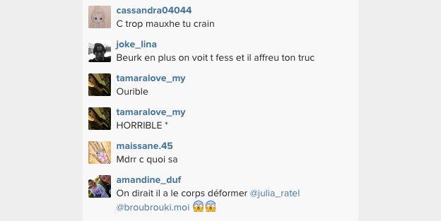 Commentaires des internautes concernant le nouveau tatouage de Steven. Ils ont été postés sur le compte Instagram de l'Ange 7. Mai 2015.