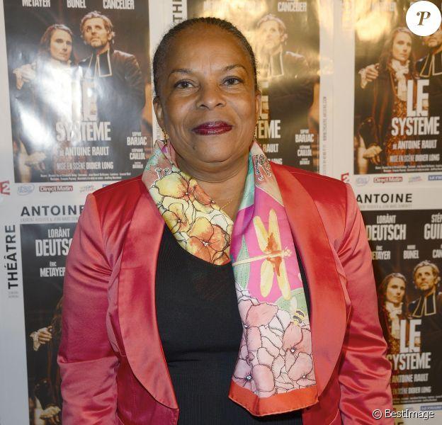 """Exclusif - Christiane Taubira - 100e de la pièce """"Le Systême"""" au théâtre Antoine à Paris le 21 mai 2015."""