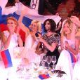 Conchita Wurst et la candidate russe lors de l'Eurovision 2015, en direct depuis Vienne le 23 mai.