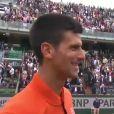 L'interview en français de Novak Djokovic après sa victoire face àJarkko Nieminem à Roland-Garros le 26 mai 2015.