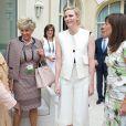 Exclusif - La princesse Charlene de Monaco entourée des participantes du Women in Leadership Summit, à Monaco le 2 juin 2015