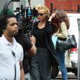Kevin Bacon et Natalie Zea film sur le tournage de 'The Following' a New York le 16 septembre 2013.
