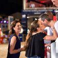 Guillaume Canet et Jessica Springsteen félicités par Caroline de Hanovre et Charlotte Casiraghi lors de la Pro Am Cup lors du Jumping International de Monaco, le 26 juin 2015