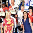 Caroline de Hanovre et Charlotte Casiraghi, Guillaume Canet et Jessica Sprinsgteen, Inigo Lopez de la Osa Escribano et d'Abdelkebir Ouaddar et Dietlinde Thomel et Yazmin Pinchen lors de la Pro Am Cup lors du Jumping International de Monaco, le 26 juin 2015