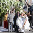 Exclusif - Les mariés arrivent à l'église en Rolls Royce - Mariage de Noor Farès et Alexandre Khawam en l'église Sainte-Catherine de Honfleur, le 13 juin 2015.