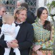 Andrea Casiraghi, son fils Sacha et sa femme Tatiana - Mariage de Noor Farès et Alexandre Khawam en l'église Sainte-Catherine de Honfleur, le 13 juin 2015.