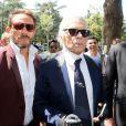 Karl Lagerfeld au défilé de mode masculine Dior printemps-été 2016 au Tennis Club de Paris le 27 juin 2015.