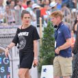 Charlotte Casiraghi et Marcus Ehning reconnaissent le parcours lors du Longines Paris Eiffel Jumping au Champ-de-Mars à Paris, le 4 juillet 2015.