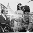 Juan Manuel Fangio et Emerson Fitipaldi lors du Festival de Cannes en 1974