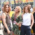 Emma Bunton, Geri Halliwell et Melanie Chisholm lors du Grand Prix de Formule 1 à Silverstone, le 5 juillet 2015