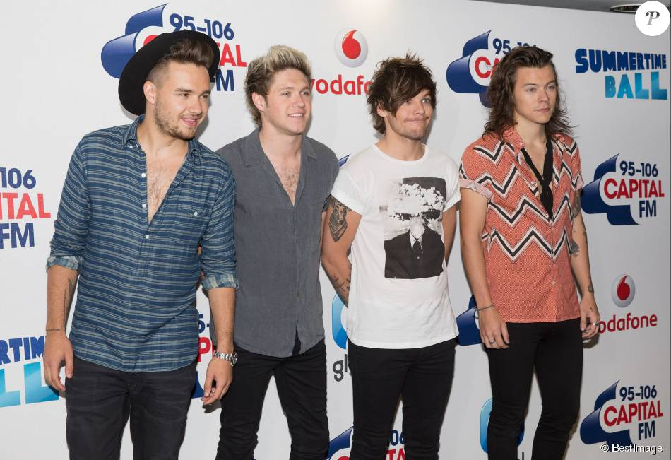 "Liam Payne, Niall Horan, Louis Tomlinson et Harry Styles (One Direction) - Arrivée des people à l'évènement ""Summertime Ball"" de Capital FM à Londres, le 5 juin 2015."