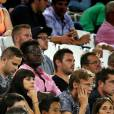 Exclusif - La danseuse Candice Pascal et son compagnon, le footballeur Clément Chantôme, assistent en tribune au match de ligue Europa des Girondins de Bordeaux contre Kairat Almaty, le 20 août 2015 à Bordeaux.