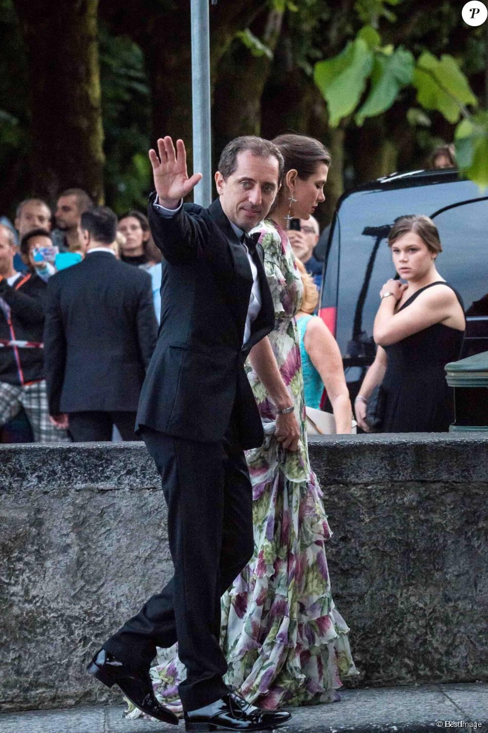 Charlotte Casiraghi et son compagnon Gad Elmaleh lors de la soirée de mariage de Pierre Casiraghi et Beatrice Borromeo au château Rocca Angera à Angera sur les Iles Borromées, sur le Lac Majeur, le 1er août 2015