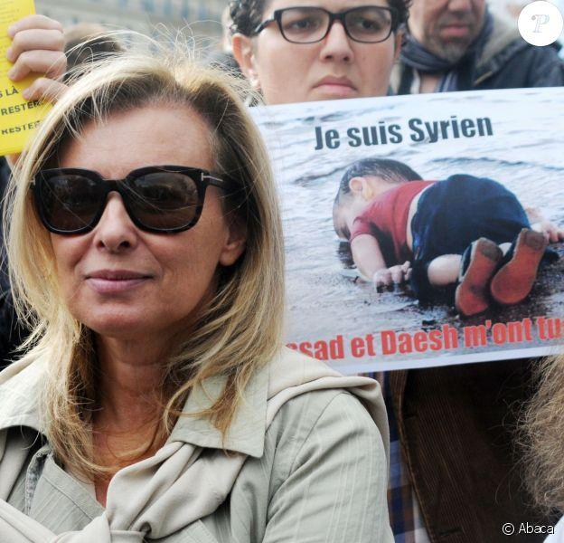 Valérie Trierweiler - Manifestation Place de la République à Paris, en faveur des réfugiés, le 5 septembre 2015