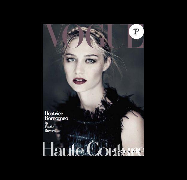 Beatrice Borromeo, photographiée par Paolo Roversi, en couverture de Vogue Unique spécial Haute Couture, supplément du Vogue Italie de septembre 2015.